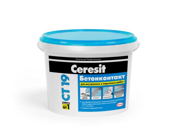 Грунтовка Церезит (Ceresit)  СТ19 бетонконтакт, 15кг  МОРОЗ (1 пал/44 шт)