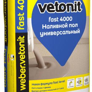 Вебер.Ветонит Фаст 4000 наливной пол, 5-80 мм (20 кг) (1 пал/54 шт)
