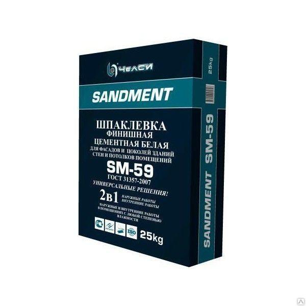 Шпатлевка Челси SANDEMENT SM-59 финишная цементная белая, 25кг (1пал/56)