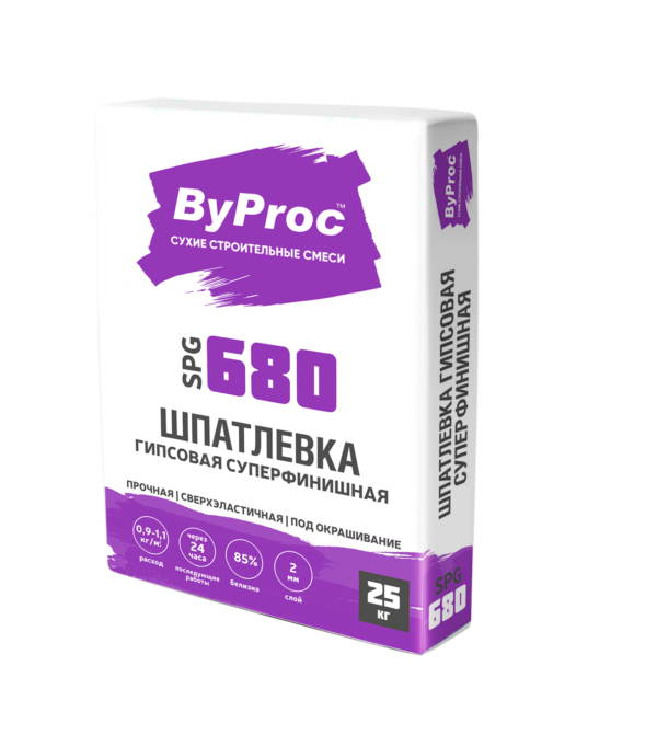Шпатлёвка БиПрок (ByProc) SPQ-680 суперфинишная гипсовая , 25 кг (1 пал/49 шт)