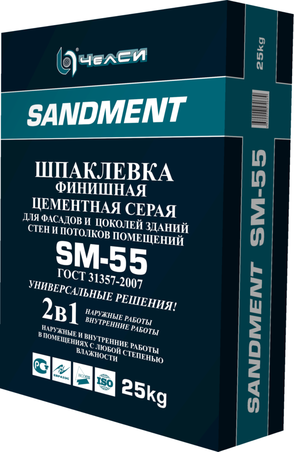 Шпатлевка Челси SANDEMENT SM-55 финишная цементная серая, 25кг (1пал/56)