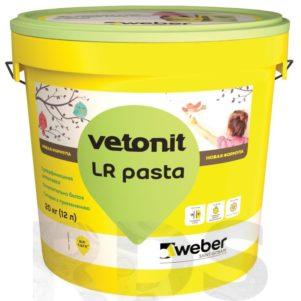 Шпаклевка Вебер Ветонит ЛР Паста готовая  полимерная , суперфинишная, белая 20кг, толщина слоя 0,2-3мм