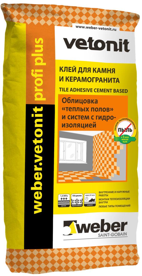 Клей Ветонит Профи плюс для плитки и керамогранита, 25 кг (1 пал/48 шт)
