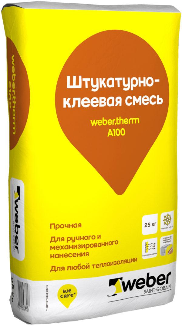 Вебер терм А 100 Штукатурно-клеевая смесь (25 кг) (1пал/48 шт)