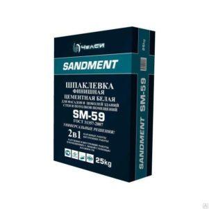 Шпатлевка Челси SANDEMENT SM-59 финишная цементная белая, 22кг (1пал/56)