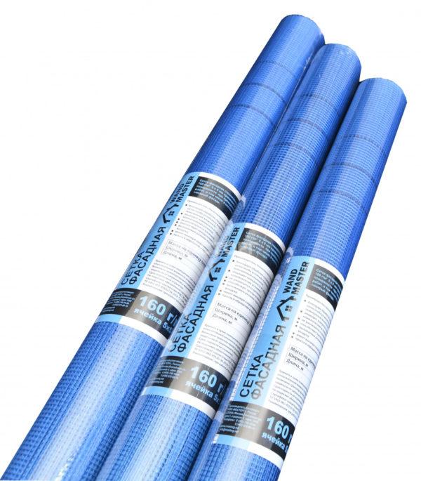 Сетка фасадная синяя 160г/м2  5*5мм 1*50м Wand Master